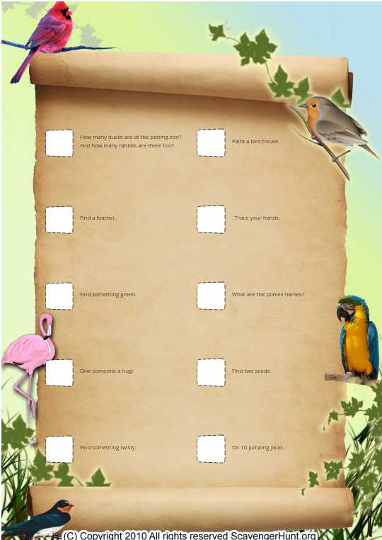 Zoo animal scavenger hunt