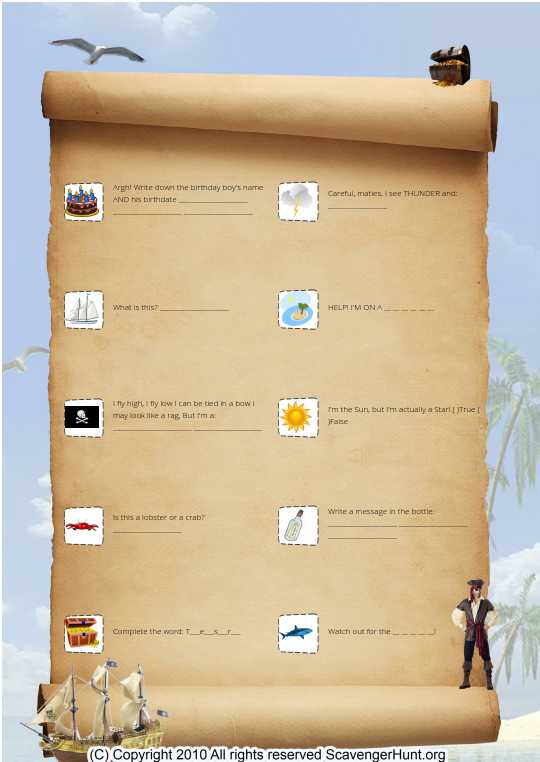 Pirate Scavenger Hunt Activity