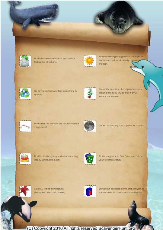 Sea life scavenger hunt
