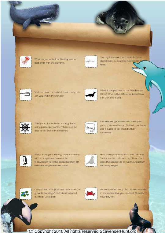 Aquarium Scavenger hunt
