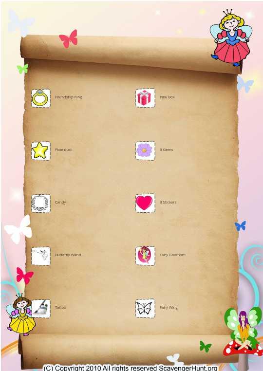 Fairy checkoff list