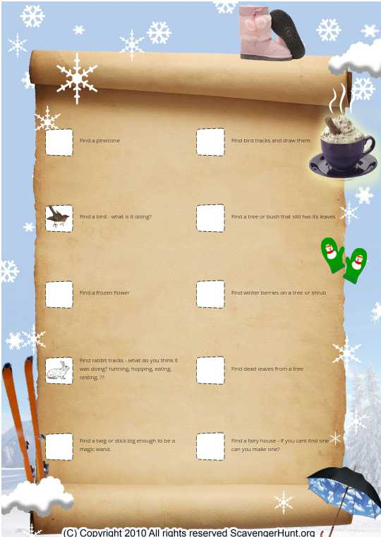 Fairy winter scavanger hunt - spelling fixed
