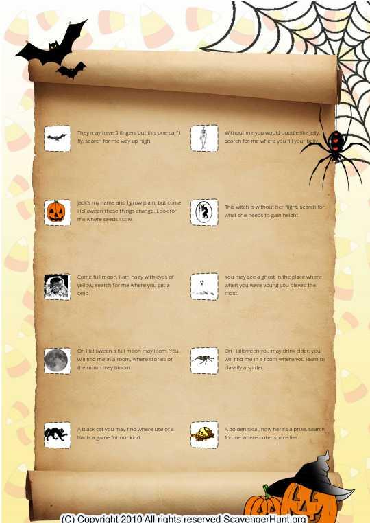 Halloween school scavenger hunt