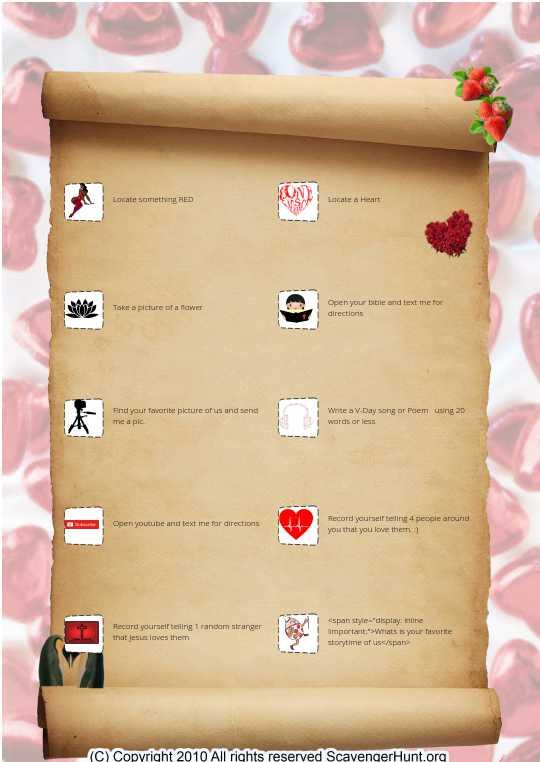 Valentines Day Scavenger Hunt For My Honey